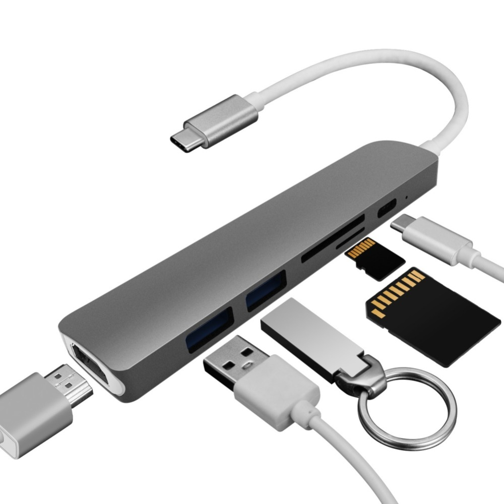Type C Converter USB Hub for MacBook Pro Thunderbolt 3 USB 3.1 Hub with SD/Micro SD Card Reader + USB-C Charger PD Converters satechi aluminum type c usb 3 0 and micro sd card reader space gray b01eu2krjm st tccram
