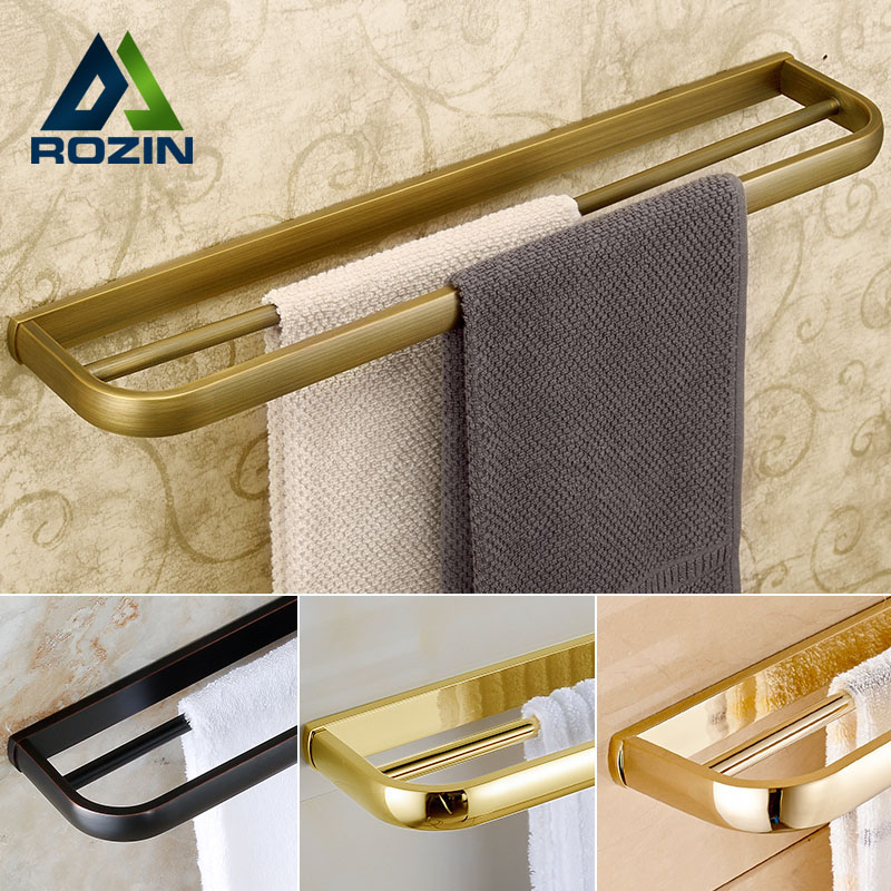 Luxury 4-style Wall Mount Double Towel Bar Bathroom Brass Towel Rack Towel Holder wall mount artistic double towel bar antique brass bathroom good quality dual bar towel holder