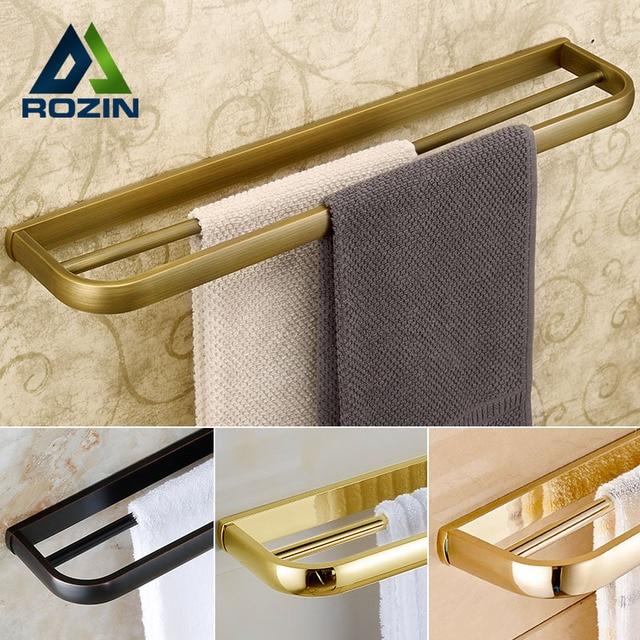Luxury 4-style Wall Mount Double Towel Bar Bathroom Brass Towel Rack Towel Holder