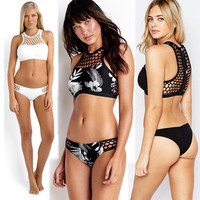 Hot Swimsuit 2017 Grid Net Design Crop Top Solid Bathing Suit Beach Swimming Women Bikini Set