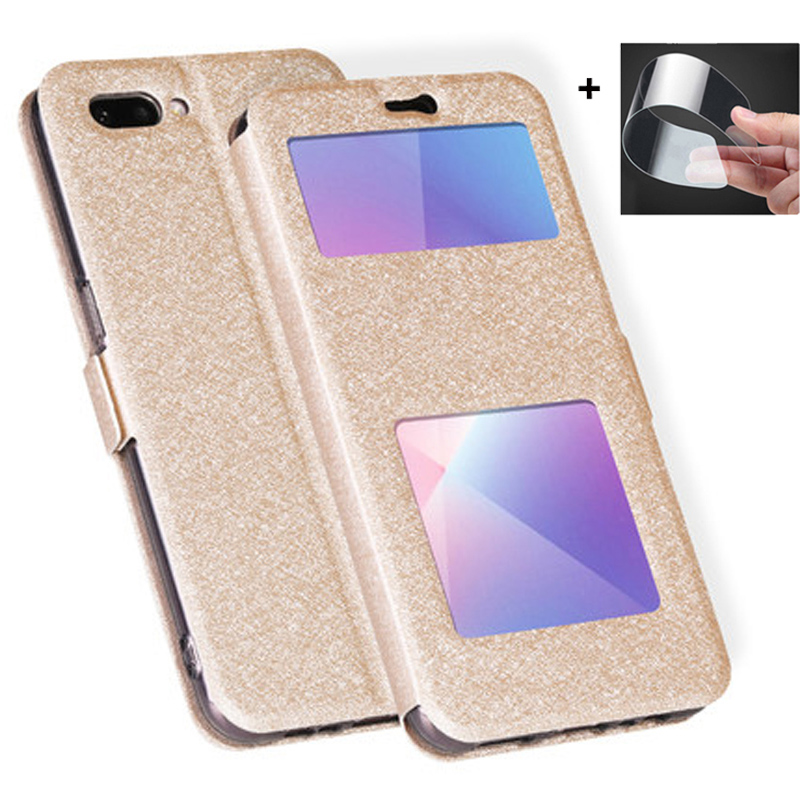 Open window leather case For OPPO Realme C1 phone cases Real me C1 C 1 flip case For OPPO RealmeC1 C 1 cover back shell bumper