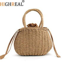HIGHREAL Hand-woven Summer Pure Straw Bag Beach Handmade Woven Handbags Causal Shoulder Bags for Women Boho Shopping Tote