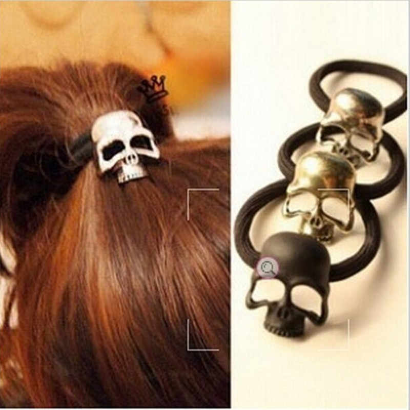 Retro Punk Three-dimensional Skeleton Metal Hair Rope Elastic Hair Band Hair Ring for Girl  JWD80