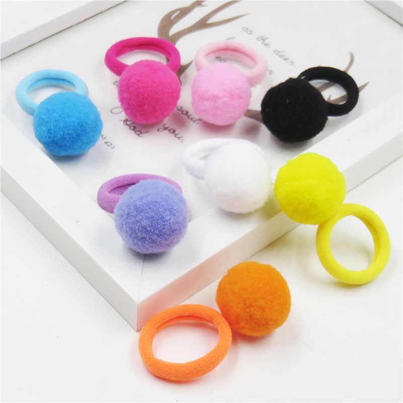 1PCS Pretty Short Hair Ball Elastic Hair Bands Toys For Girls Handmade Bow Headband Scrunchy Kids Hair Accessories For Women