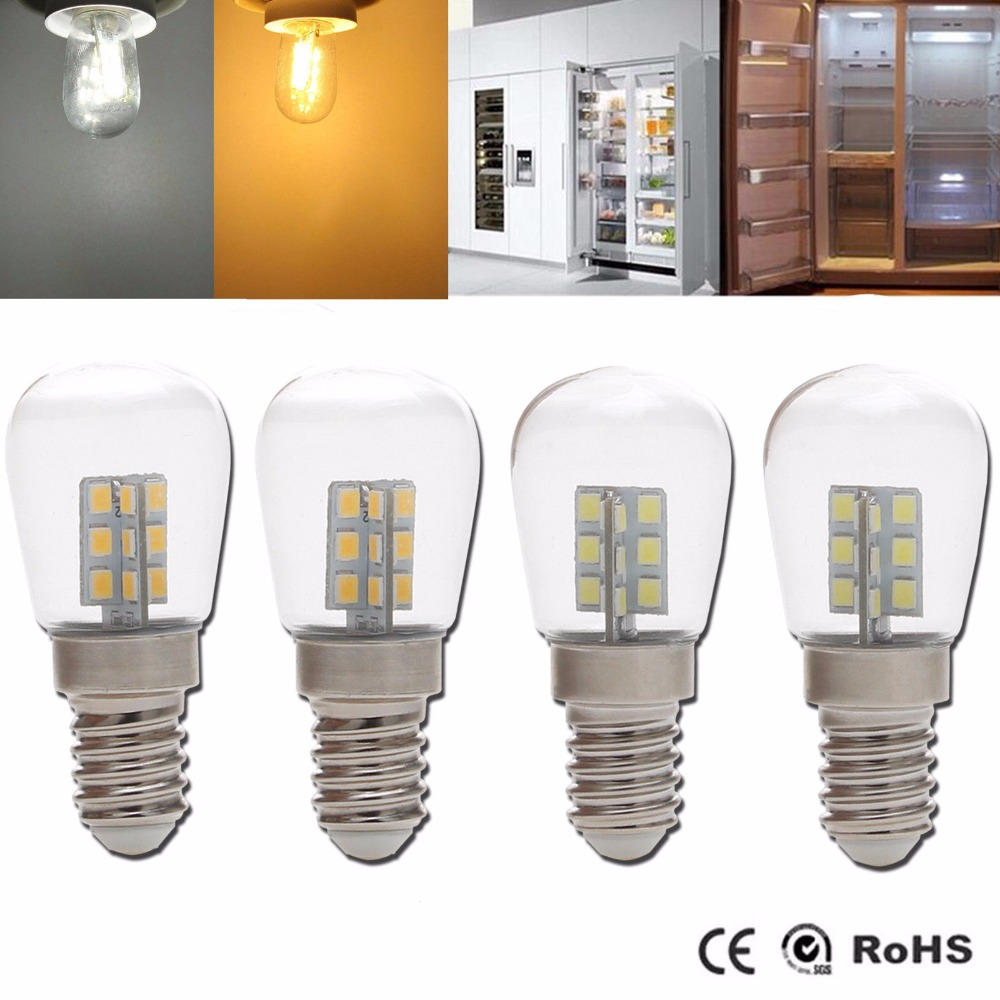 High Bright E12 2W Screw Base 3014 SMD 24 LED Glass Shade Light Lamp Bulb Pure E14 2835SMD For Sewing Machine Refrigerator