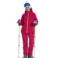 Лыжный костюм для женщин Бренды Высокое качество женский ветрозащитный непромокаемые зимние наборы для ухода за кожей зимняя куртк
