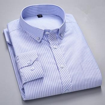 100% Cotton Oxford Mens Shirts with Long Sleeves Casual Men Striped Shirt & Plaid Camisa Masculina Streetwear