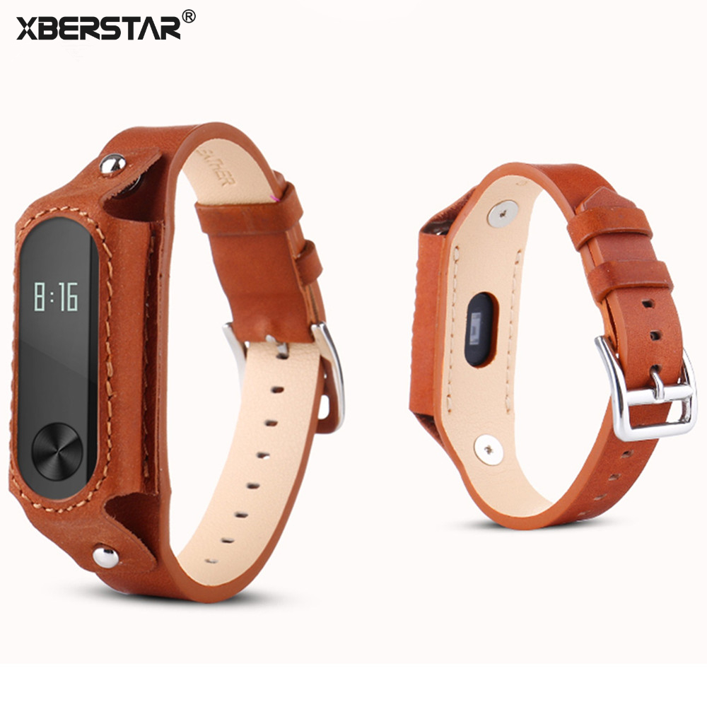 Genuine Leather Bracelet Watch Bands Wrist Strap for Xiaomi Mi Band2 Fitness Tracker hot 22mm white 100% genuine leather watch strap bands for motorola moto 360 smart watch