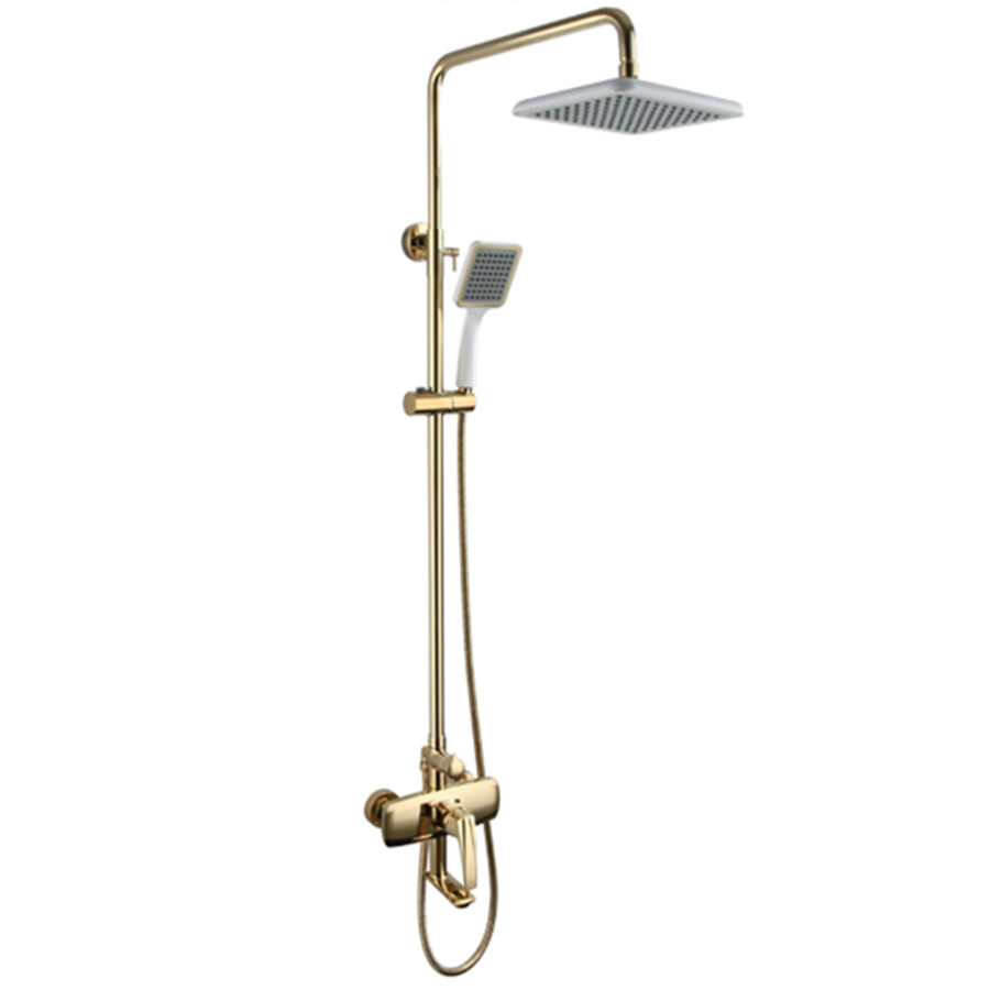 Gold bathroom faucets wholesale - 2017 Wholesale Premium Solid Brass Luxurious Exposed Gold Bathroom Shower Kit Bathtub Mixer Faucet Tap