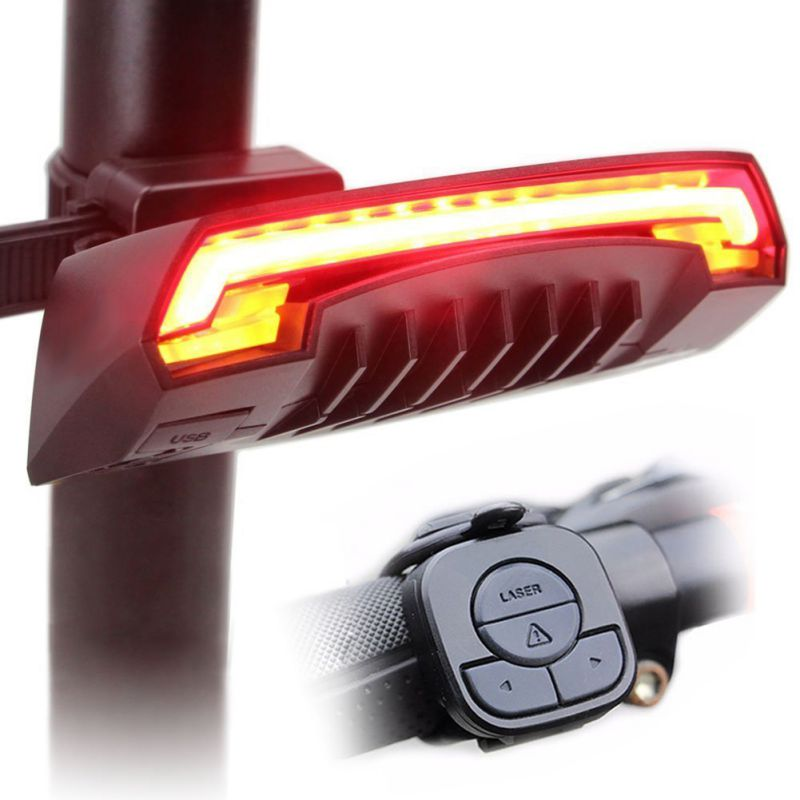 2018 LED Smart Bicycle Tail Laser USB Chargeable Light Rear Remote Wireless Turn Signal Cycling Accessory New meilan x5 wireless bike bicycle rear light laser tail lamp smart usb rechargeable cycling accessories remote turn led