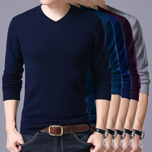 Winter Soft Warm Knitted Merino Wool Sweater Men 100% Real wool Sweaters Pure Color V-Neck Pullover Men 13 colors