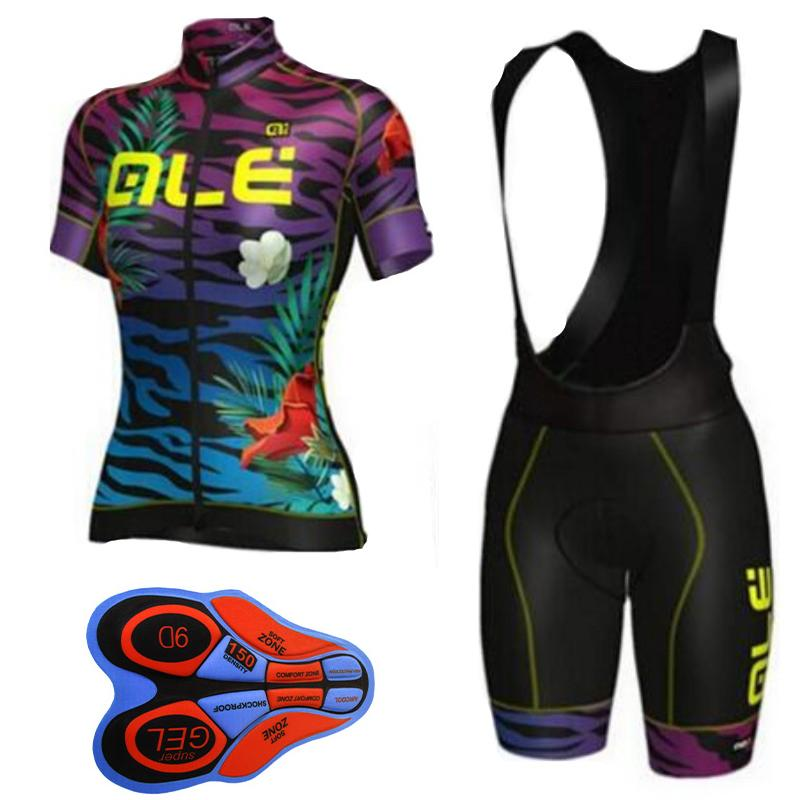 2017 Ale Cycling Jersey set Women Short Sleeve Breathable ropa Ciclismo Mountain Bike shirts bicycle bib shorts 9D gel pad E1102 keyiyuan children cycling clothing set ropa ciclismo bicycle kids summer bike short sleeve jersey shorts sets blue