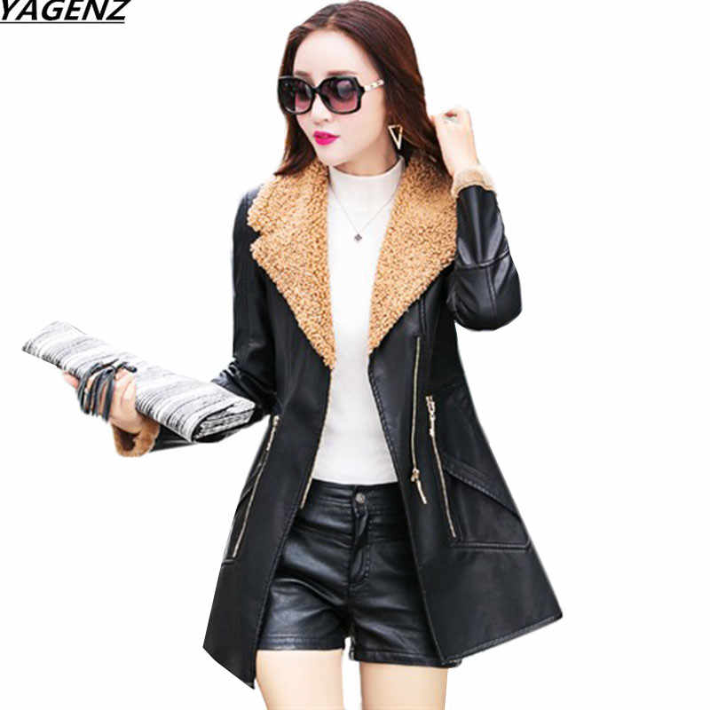 Female Leather Jacket 2017 New Fashion Autumn Winter Coat PU Leather Thick Lambswool Coat Slim Large Size Women Tops YAGENZ K661