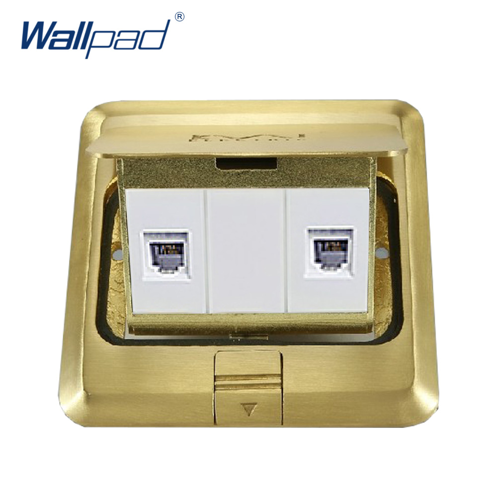 Telephone and Computer Floor Socket Wallpad Luxury Copper and SS304 Panel Damping Slow Open For Ground With Mouting Box wallpad luxury copper and ss304 panel us 6 pin floor socket damping slow open for ground with mouting box ac110 250v