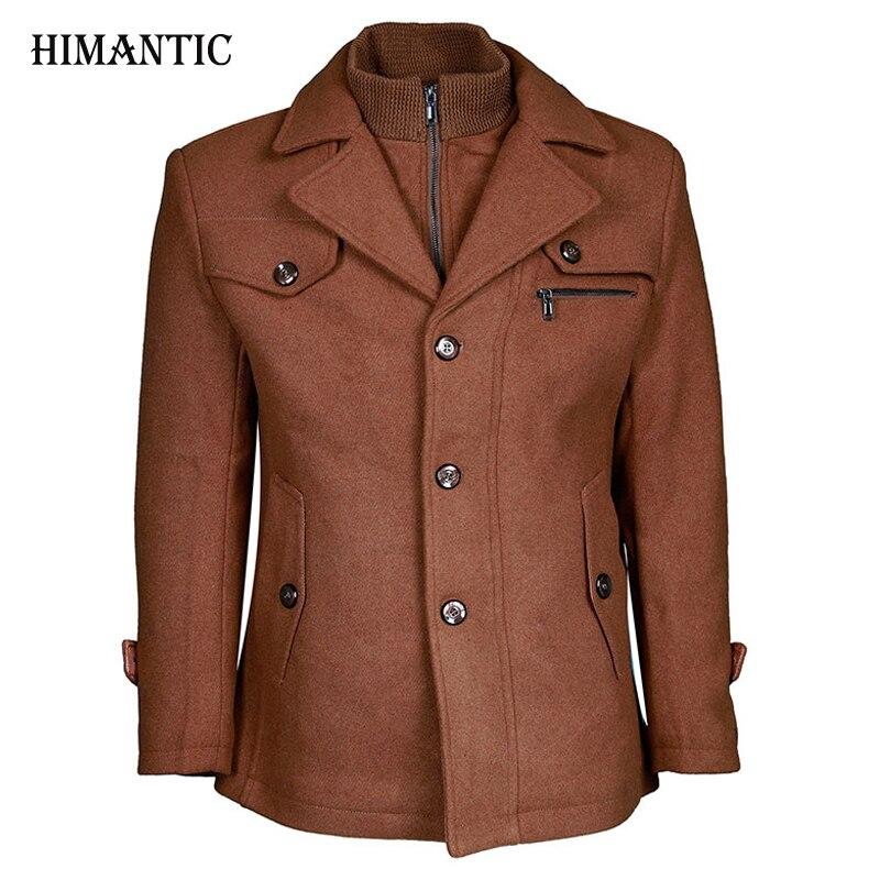 Фирменная Новинка зимнее шерстяное пальто Slim Fit Куртки модная верхняя одежда; теплый человек повседневная куртка пальто бушлат плюс Размер...