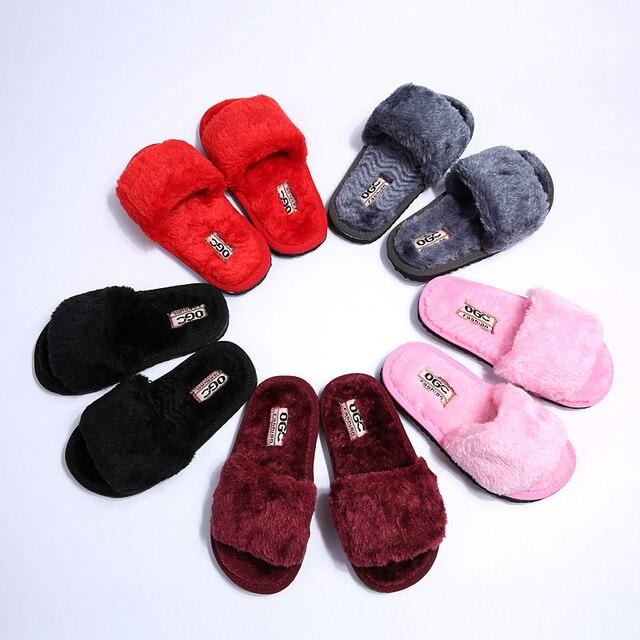 Зимние Девушки Тапочки Дети Детский Дом Обуви Бренд Дом Теплым крытый Меховые Тапочки для Детей Ребенка Пхг Австралия Обувь Розовый красный
