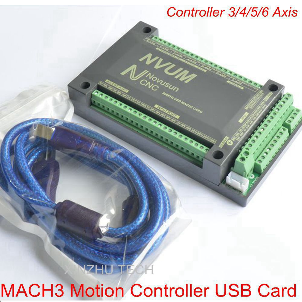 MACH3 USB Card NVEM 3 Controller 3/4/5/6 Axis CNC Motion Controller USB Card 250KHz Breakout Board Interface Stepper/Servo freeshipping 0 to 10 vpwm spindle speed controller mach3 interface board