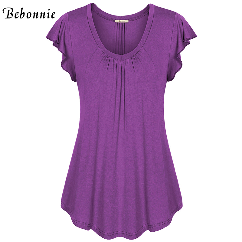 0aa59d4d20f Bebonnie Summer Ruffles Short Sleeve V Neck Women Basic Top Front Pleats  Female Solid Stretch Knitted Blouse Loose Tunic Tops-in Blouses & Shirts  from ...