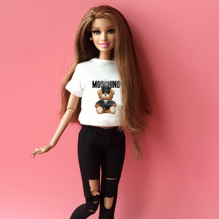 2PCS  Blyth Doll Clothing 1/6 Doll T-shirt + Pants For Pullip Doll Blyth Jean Outfit Clothes Set For Barbie Doll 1/6 Accessories