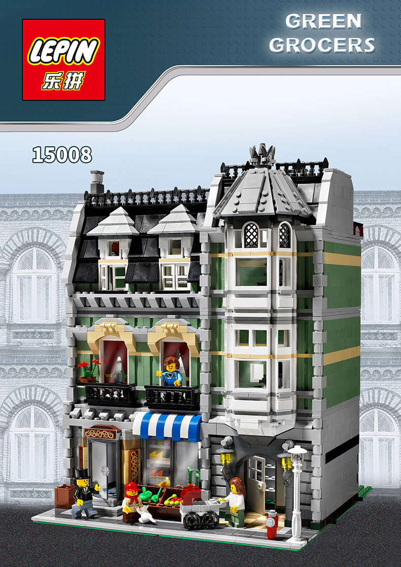 2016 New LEPIN 15008 2462Pcs Metropolis Road Creator Inexperienced Grocer Mannequin Constructing Package Minifigure Blocks Appropriate with Legoe 10185