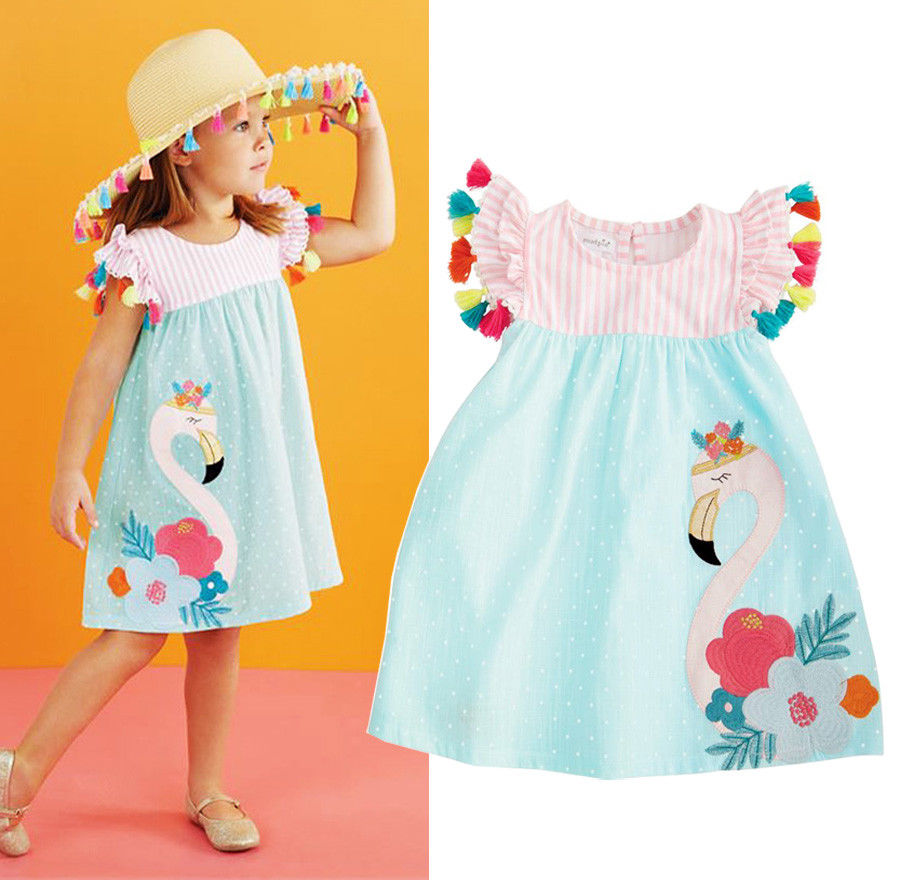 Kids Girls Embroidery Dresses Panelled Petal Sleevel Ruched Flamingo Cartoon Print Dress Girls Clothes