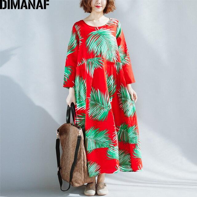 3689cce5a5 DIMANAF Wiosna Sukienka Kobiety Plus Size Pościel Hawaiian Liście Femme  Luźne Ponadgabarytowych 2018 Długim Rękawem Elegancki