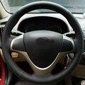 O Envio gratuito de Alta Qualidade Top Layer Couro do couro artesanal volante Costura cobre proteger Para Hyundai i30