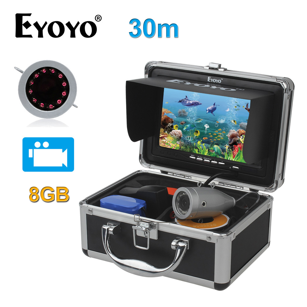 EYOYO Original 7 Fish Finder HD 1000TVL 30M Underwater Fishing Video Camera Recorder DVR Infrared LED with 8GB SD Card Silver 30m video