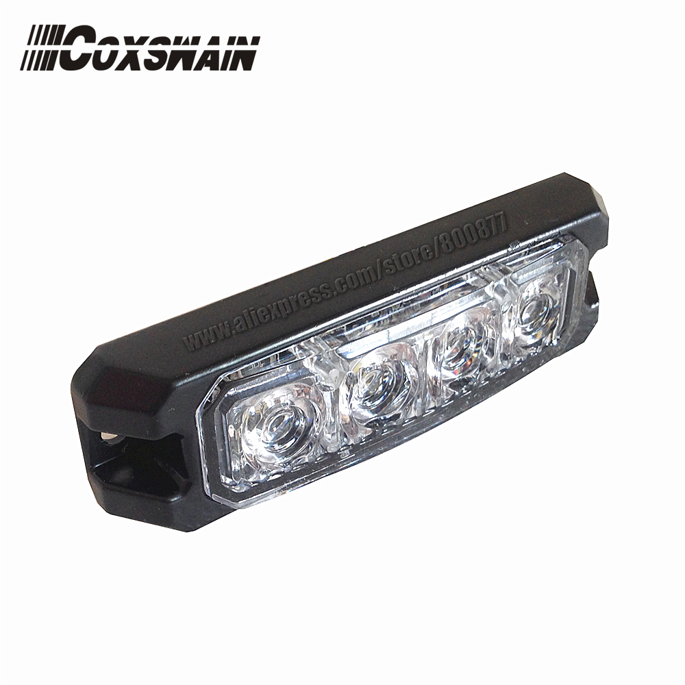 Luces de advertencia externas del coche T4 Cabezal de luz de montaje en superficie de parrilla LED, DC12 / 24V, 22 patrones de flash, 3W cada LED, a prueba de agua