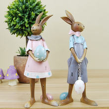 American Rural Style Resin Alice In Wonderland lovers Rabbit Figurines soft furnishing articles Wedding Home Decor 2PCS/SET