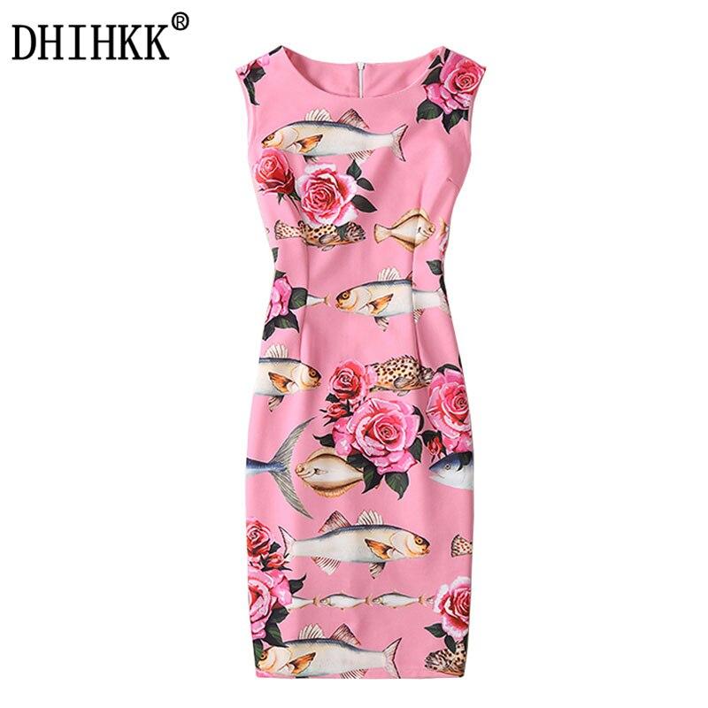 Dhihkk 2017 nuevas mujeres dress summer rose y peces imprimir sin mangas con enc
