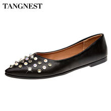 Tangnest Sexy Pointed Toe Women s Flats Luxury Crystal Shallow Ballet Flats  For Lady Fashion Pu Leather Slip-on Flat Shoes b6c5442214b2