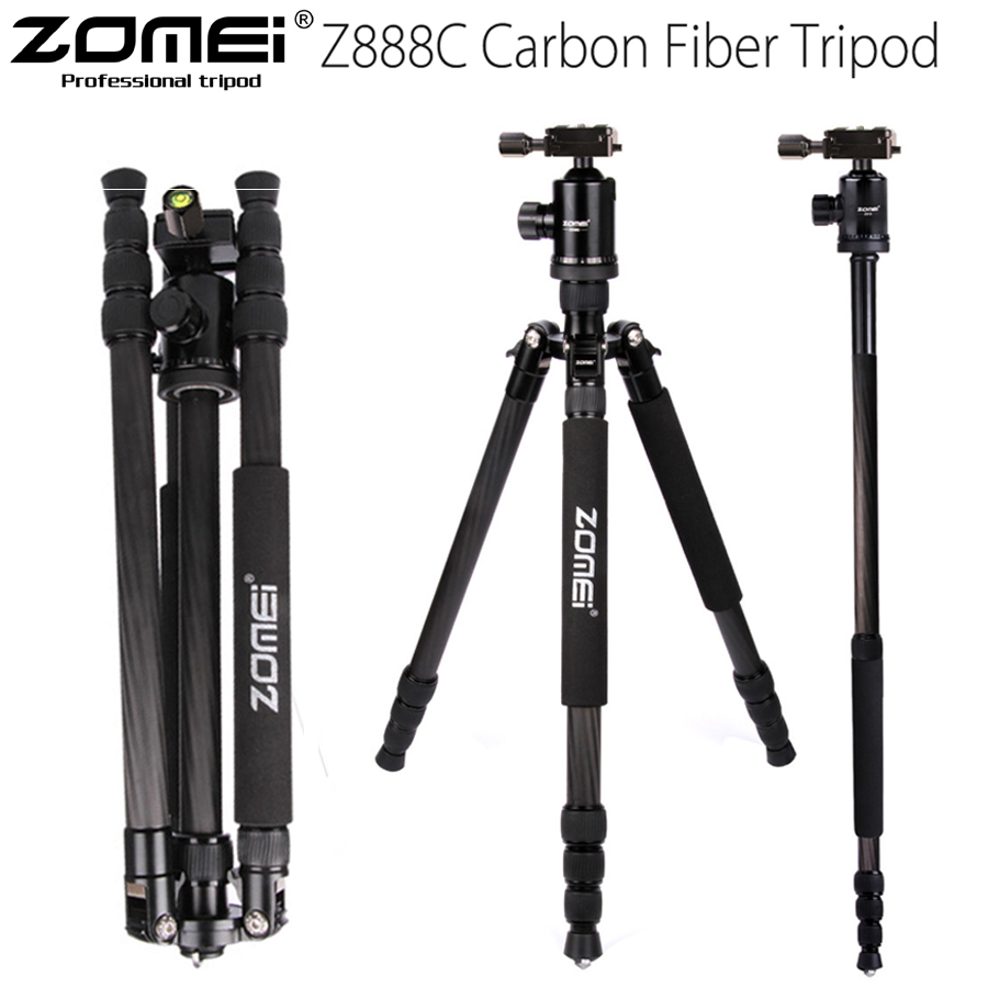 ZOMEI Z888C Professional Travel tripod Carbon Fiber camera Monopod Stand & Ball head with Bag for DSLR camera 5 Color available aluminium alloy professional camera tripod flexible dslr video monopod for photography with head suitable for 65mm bowl size