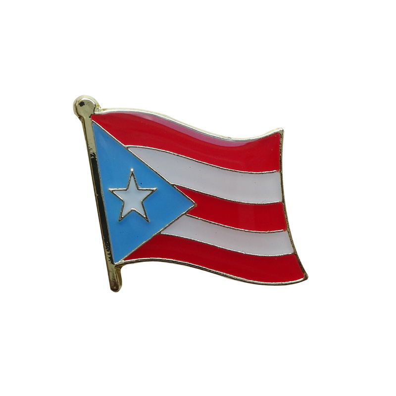 Puerto Rico Single Country flag metal badge pin Iron plated brass paints epoxy butterfly back button