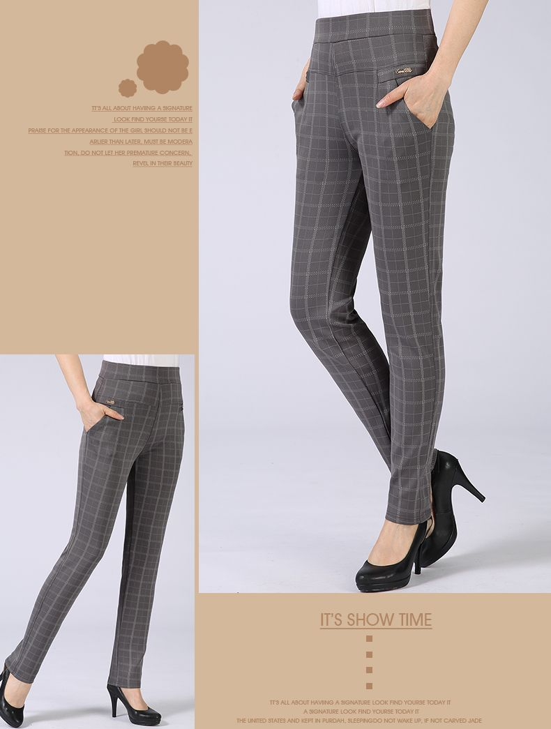Spring Autumn Woman Casual Pant Navy Blue Black Khaki Gray Trousers Middle Aged Women Plaid Pattern Pants High Waist Trousers Mother Bottoms (8)