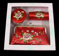 New Designs Embroidered Silk 1 Sets of Lipstick Case, Compact Mirror and Cosmetic Bag Wedding Favors 1sets Free shipping