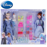 Disney 2019 Plush Doll Toys 2pcs/set Frozen Elsa Anna Snow Queen Princess Stuffed Children Girl Doll Models Kids Birthday Gift