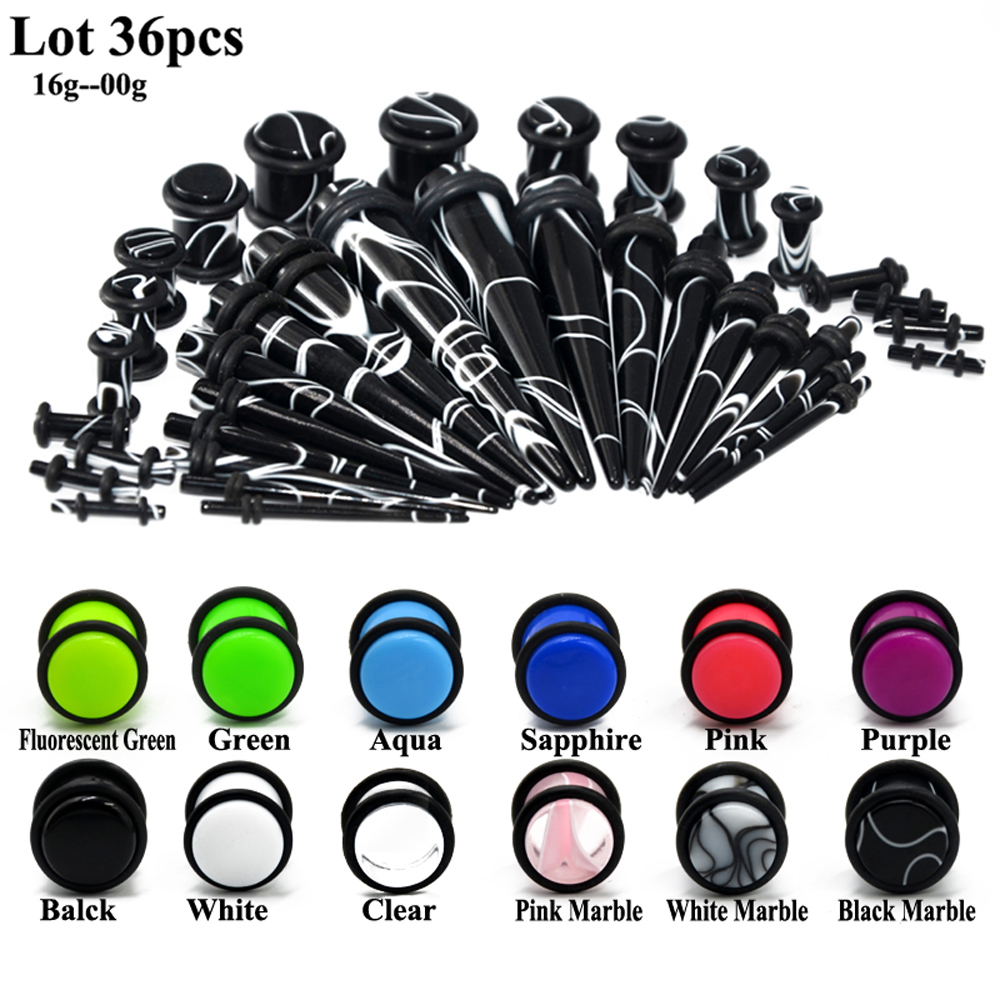 36Pcs/lot UV Acrylic Ear Gauge Taper Plug Stretching Kits Ear Flesh Tunnel Expander Body Piercing Jewelry Mixed Color 14G00G