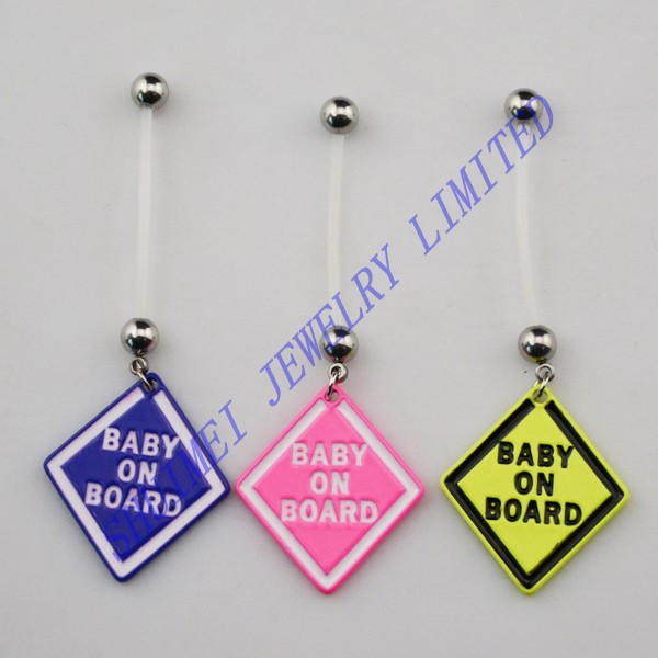 15pcs Mix Designs Baby On Board Belly Button Rings Body Piercing
