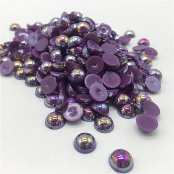 4 6 8 10mm fioletowy ABS półokrągły koralik perła płaski powrót księga gości DIY tworzenia biżuterii tanie i dobre opinie RYFDBMauve NONE Akrylowe zawieszki Okrągły kształt 10~20g moda 4~10mm 4mm 6mm 8mm 10mm Half Round Bead Purple