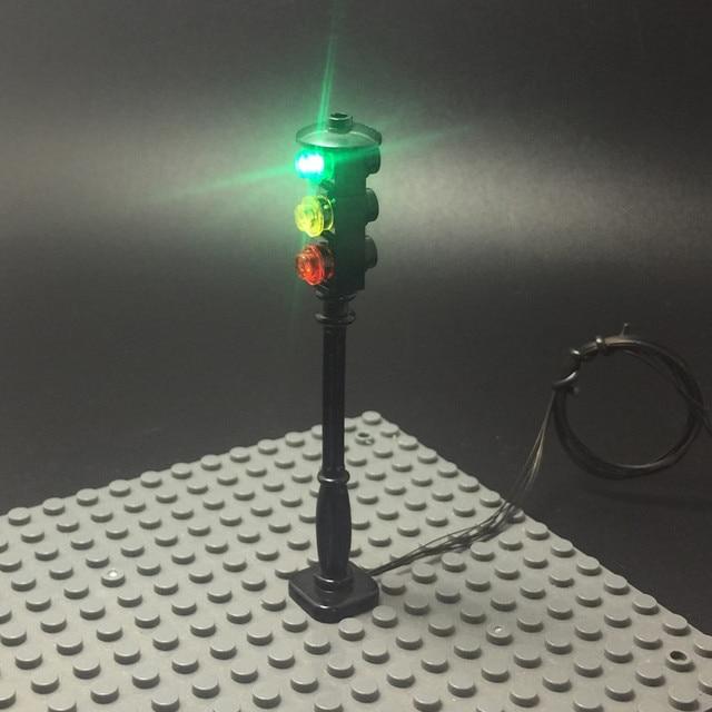 LED إشارة مرور ضوئية الشارع لالطوب سلسلة ليغو المدينة/قواعد حاملة نموذج