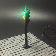 Luz LED de señal de tráfico callejero para lego, Serie de la ciudad, bloques, juego de modelos