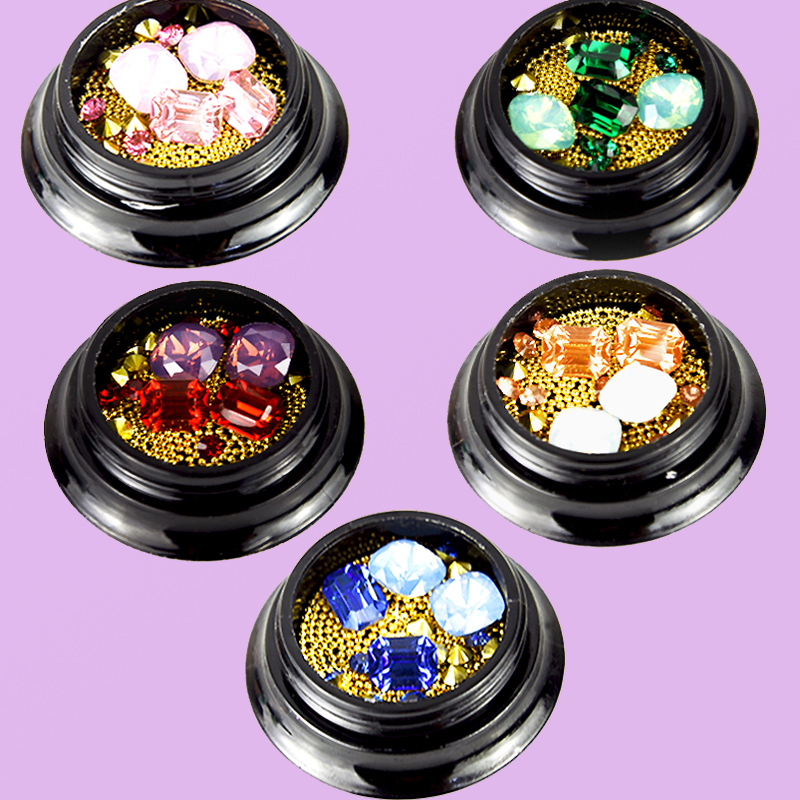 1 jar mixed caviar nail art decal/gold metal beads studs 3D tips/ glitter gems/ Decoration Gem, 5 #