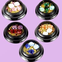 1 jar mixed caviar nail art decal/gold metal beads studs 3D tips/ glitter gems/ Decoration Gem, 5 #