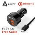 [Qualcomm Certificada] Aukey de Carga Rápida 2.0 36 W 2 Portas USB Adaptador de carregador de Carro, duplo Turbo Rápida Portas tanto apoio QC 2.0 2.4A