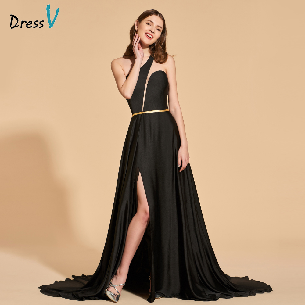Dressv black elegant long prom dress one shoulder sleeveless floor length split-front evening party gown a line prom dresses