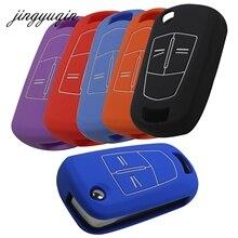 Jingyuqin capa de chave de carro, 2/3 botões de silicone para vauxhall opel corsa astra vectra signo, chave de carro dobrável escudo de concha