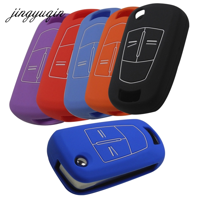 jingyuqin 2/3 Buttons Silicone Key Cover Fob Case for Vauxhall Opel Corsa Astra Vectra Signum Remote Flip Folding Car Key Shell