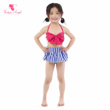Kaiya Angel New Baby Girl Swimwear Toddlers Summer Swimsuit Beach Suits Belt Striped Solit Tow Pieces Cute Bow Factory Wholesale