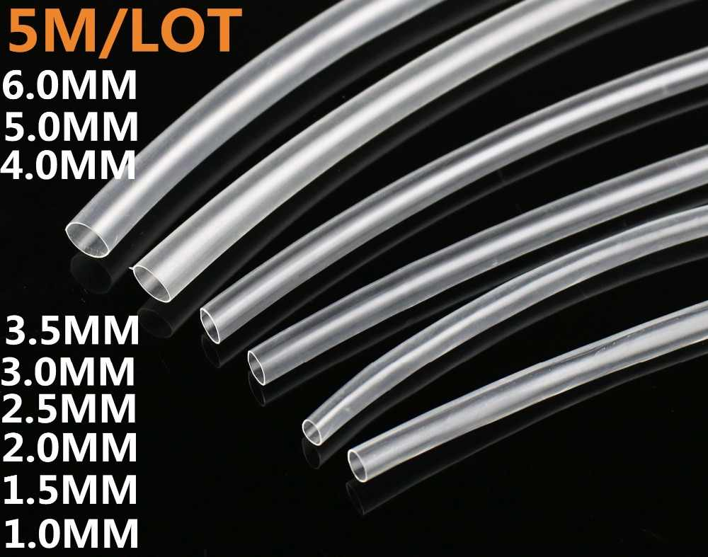 5 mètre/lot 1mm 1.5mm 2mm 2.5mm 3mm 3.5mm Tube thermorétractable transparent